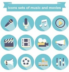 Icons music and movies vector