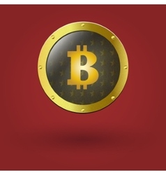 Golden isolated bitcoin coin front view vector