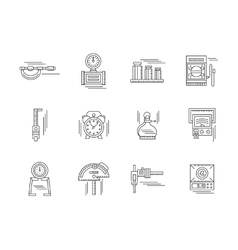 Metrology linear icons set vector