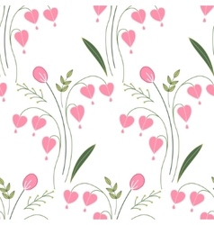 Seamless pattern with stylized cute red flowers vector