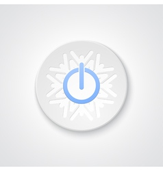 Abstract power button on the snowflake vector image vector image