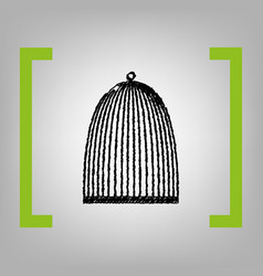 Bird cage sign black scribble icon in vector