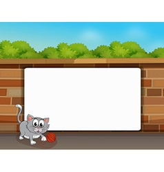 Cat and a white board vector image