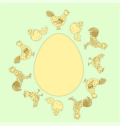 Chicken family around egg card vector