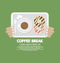 Coffee Break Top View Of Donuts And Hot Coffee vector image vector image