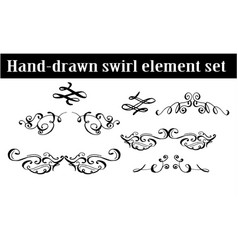 Collection of hand drawn ink curls vector