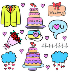 Collection stock of wedding object in doodles vector