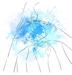 contour of human hands sign of peace and watercolo vector image vector image