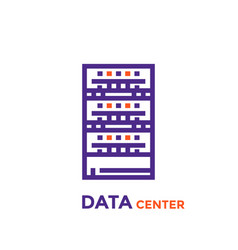 Data center server icon vector