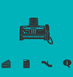 Fax machine icon flat vector