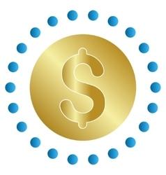 Gold coin gradient icon vector