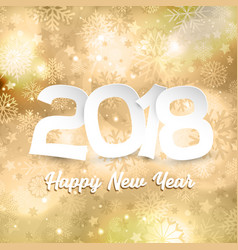 Happy new year text on gold snowflake background vector