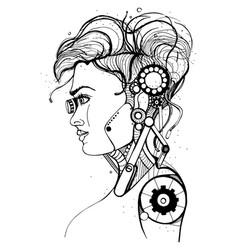 Head female cyborg concept silhouette skull vector