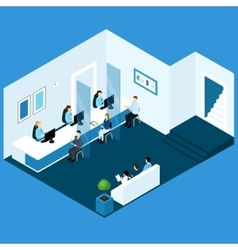 Isometric office banking composition vector