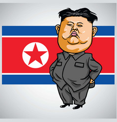 Kim jong-un cartoon with north korea flag vector