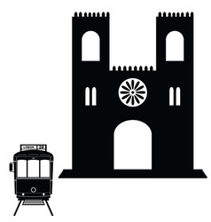 lisbon tramway in black color with building vector image vector image
