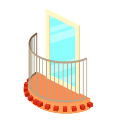 little balcony icon isometric 3d style vector image vector image