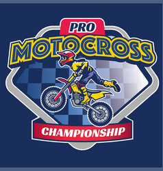 motocross race badge vector image vector image
