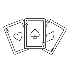Playing cards icon outline style vector image vector image