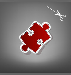 Puzzle piece sign red icon with for vector