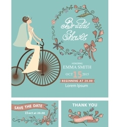 Retro bridal shower setbridefloral decorretro vector