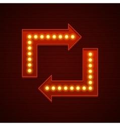 Retro showtime sign design arrows cinema signage vector