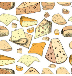 Seamless pattern with different slices of cheese vector