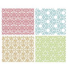 set of modern seamless mesh line pattern on white vector image vector image