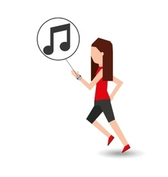 Sport girl running with smart watch music icon vector