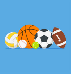 Sports balls set cartoon balls icon vector