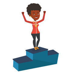 Sportswoman celebrating on the winners podium vector