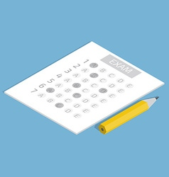 Test answer sheet concept isometric vector