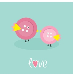 Two pink button birds love cart flat design style vector