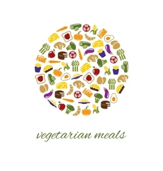 Vegetarian meals icons in circle vector