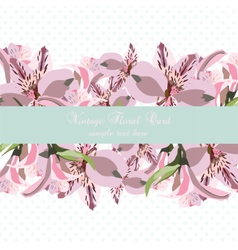 Vintage floral lily flowers card vector