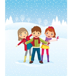 winter day children playing outdoors vector image