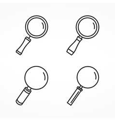 Magnifying glass line icons vector