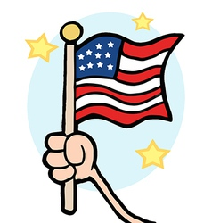 Hand Waving An American Flag vector image