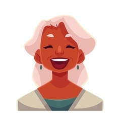Grey haired old lady laughing facial expression vector