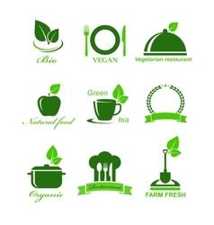 Set of vegetarian food icons vector