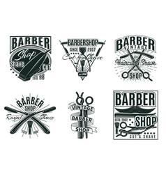 vintage hair saloon labels set vector image