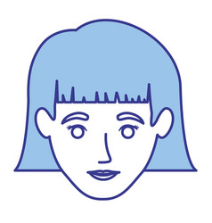 blue silhouette of woman with short hair with vector image