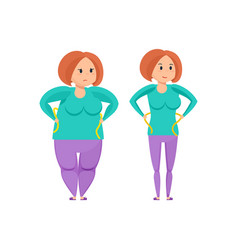 Girl before and after weight loss vector