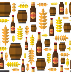 seamless pattern beer barrels and bottles ornament vector image