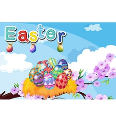 A nest with easter eggs vector