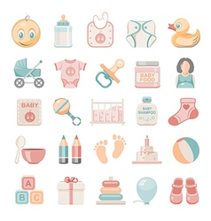 Flat icons baby vector
