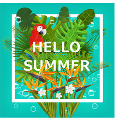 Hello summer background with tropical plants vector