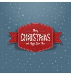 Christmas red greeting card and ribbon vector