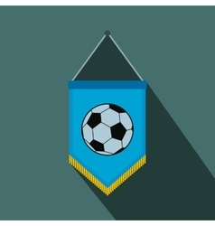Blue pennant with soccer ball flat icon vector