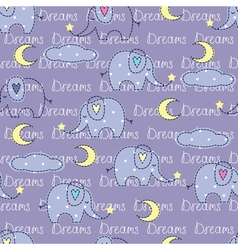 Seamless pattern with cute elephants vector